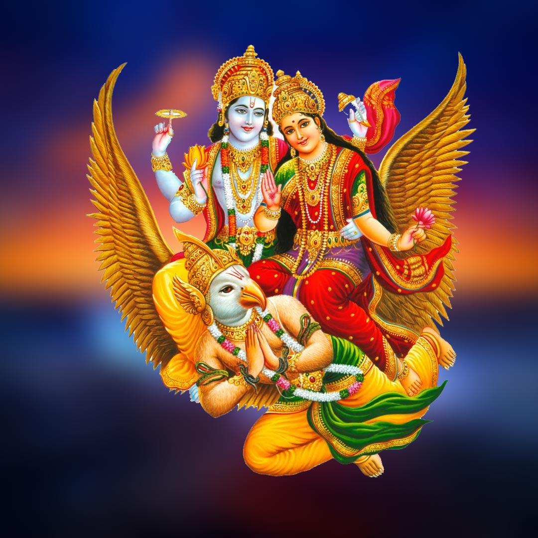 Lord vishnu on garud with mata lakshmi photo